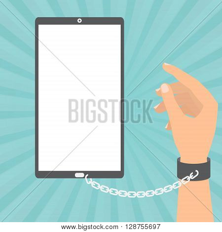 Human hand with chained with smart phone on sun ray background. Vector illustration technology of internet social addiction concept.