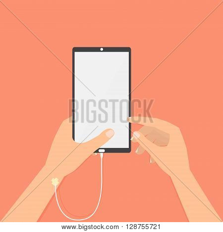 Human hand with smart phone saline solution and hand point to screen. Vector illustration social addiction internet online concept.
