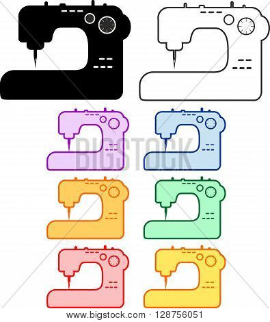 The vector set of colourful sew machines for logotype