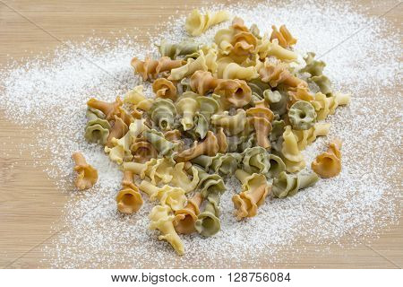 Italian Gigli pasta  prepared for cooking on the table