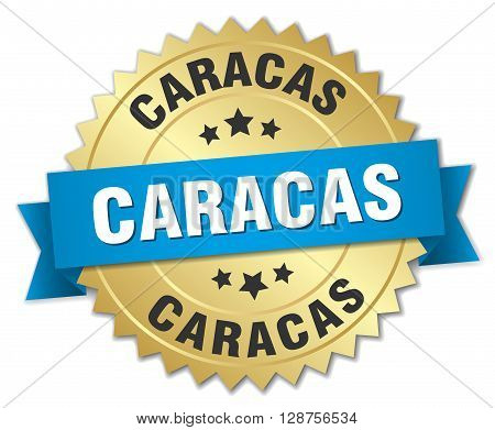 Caracas round golden badge with blue ribbon