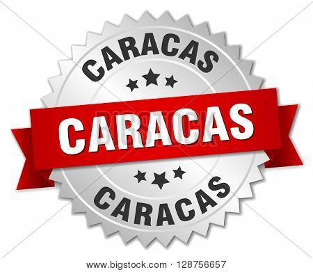 Caracas round silver badge with red ribbon