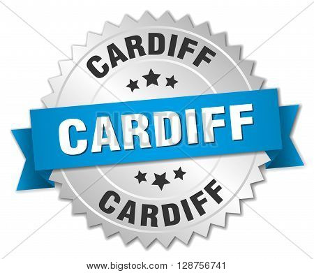 Cardiff round silver badge with blue ribbon