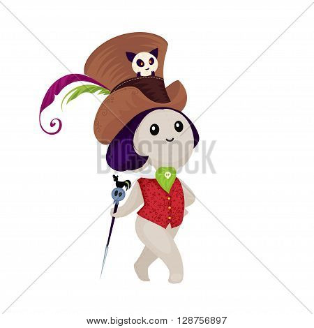 Voodoo doll isolated on a white background. Cute voodoo doll in cartoon style. Vector illustration.