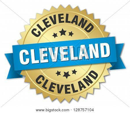 Cleveland round golden badge with blue ribbon