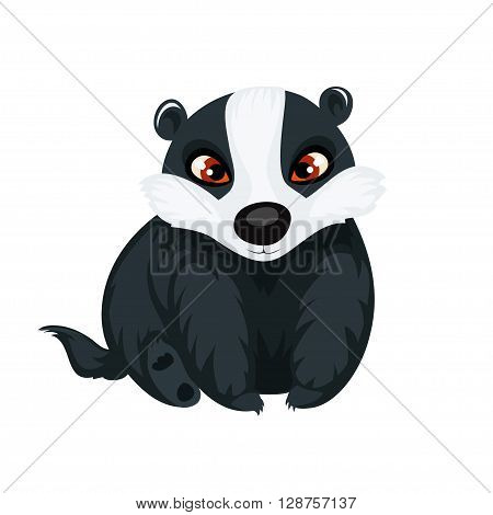Badger isolated on white background. Cute badger in a cartoon style. Vector illustration.