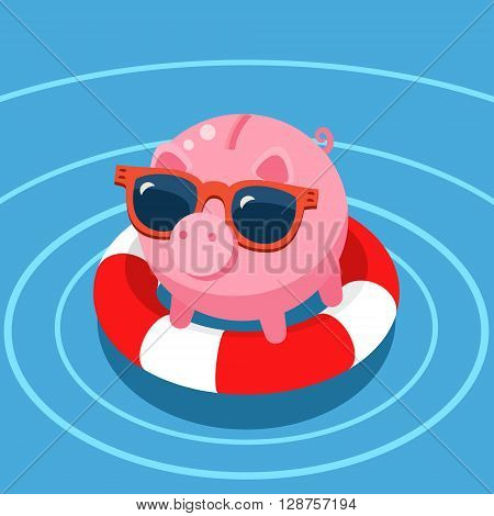 Concept of deposit insurance. Pig piggy bank in the lifebuoy.  Flat design, vector illustration.