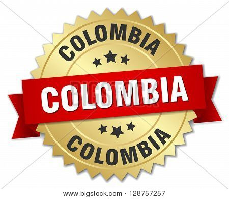 Colombia round golden badge with red ribbon