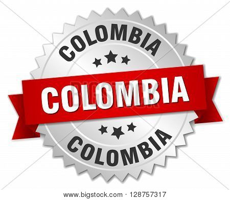 Colombia round silver badge with red ribbon