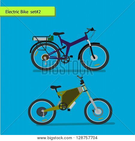 Collection of electric bikes . vector illustration on blue background.