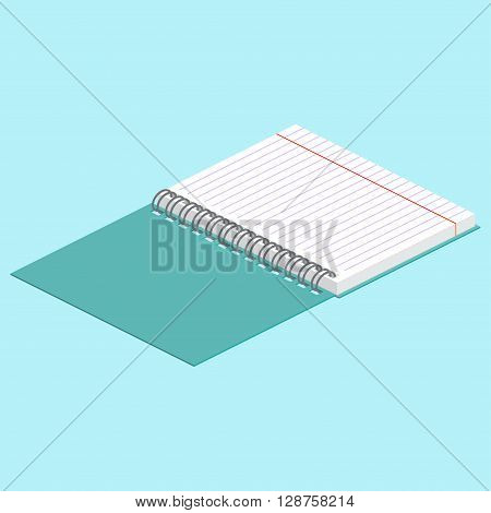 Isometric Illustration On A Blue Background With The Image Of Open Spiral Notebook. Vector Illustrat