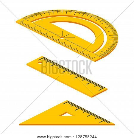 Set Of Isometric Measuring Tools: Rulers, Triangles, Protractor. Vector School Instruments Isolated