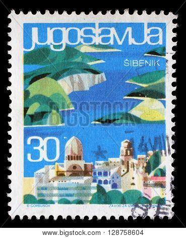 ZAGREB, CROATIA - JUNE 14: A stamp printed in Yugoslavia from the Local Tourism issue shows Sibenik, Croatia, circa 1963, on June 14, 2014, Zagreb, Croatia