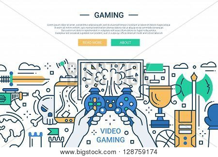 Illustration of vector modern line flat design website banner, header with video gaming process
