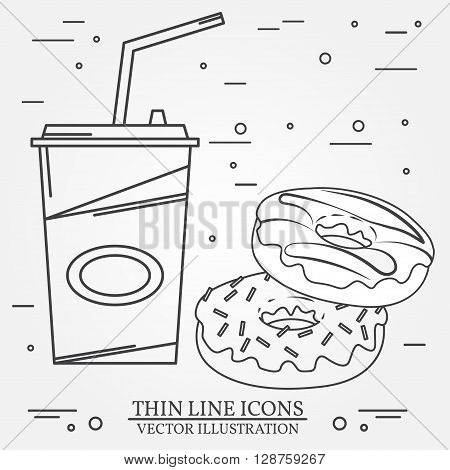 Vector thin line icon donuts and soda . For web design and application interface also useful for infographics.