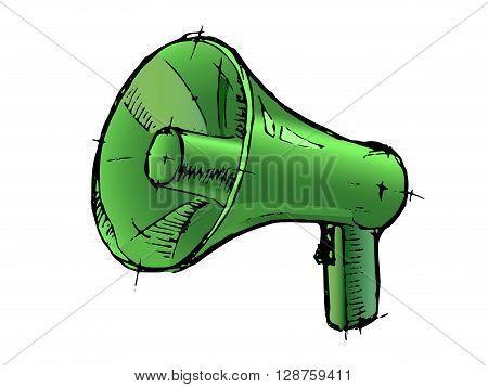 Megaphone or loudspeaker isolated on white. Hand drawn vector stock illustration