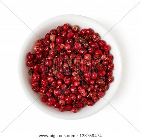 Bowl Of Red Peppercorn Isolated On White, Top View