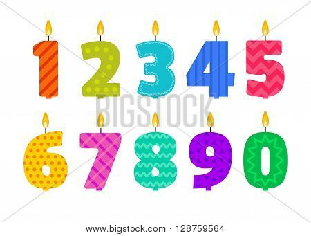Vector flat design birthday candle set in the shape of all numbers. Burning colorful candles with different festive patterns in flat style. For anniversary party invitation cards design decoration.