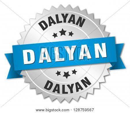 Dalyan round silver badge with blue ribbon