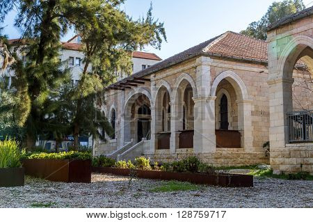 JERUSALEM ISRAEL - FEBRUARY 27: Mediterranean urban landscape - Stone house with archs and arched windows faced with white stone in Jerusalem Israel on February 27 2016
