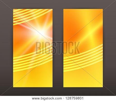 Sun Star Vertical Banner Set Back Front Presentation Leaflet