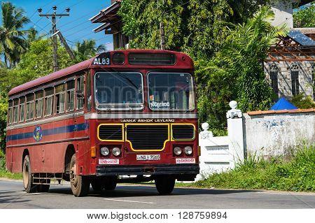 Bentota, Sri Lanka - December 31, 2015: Regular Public Bus. Buses Are The Most Widespread Public Tra