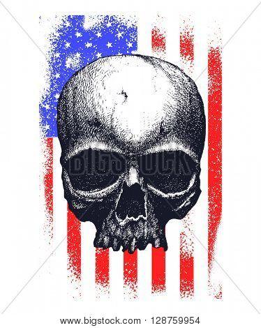 Skull and Flag USA. Jpeg version.