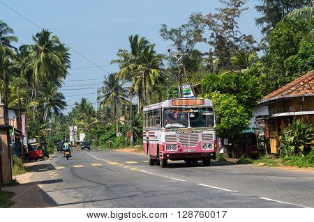 Bentota, Sri Lanka - December 31, 2015: Regular Public Bus. Buses Are The Most Widespread Public Tra