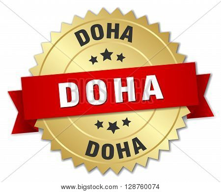 Doha round golden badge with red ribbon