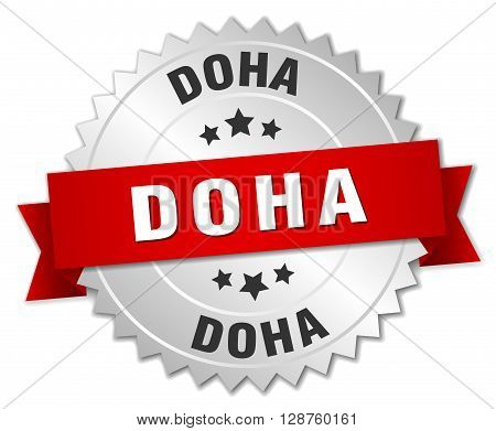Doha round silver badge with red ribbon