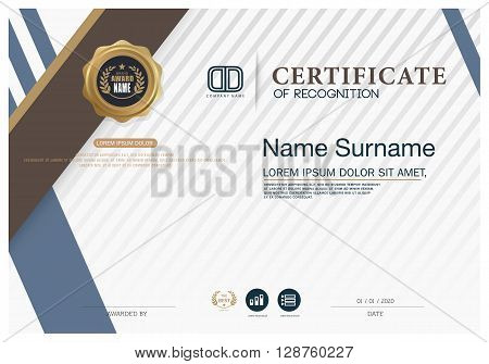 Certificate of achievement frame design template. Gold