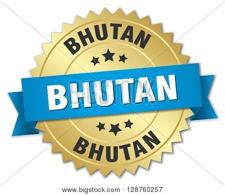 Bhutan round golden badge with blue ribbon