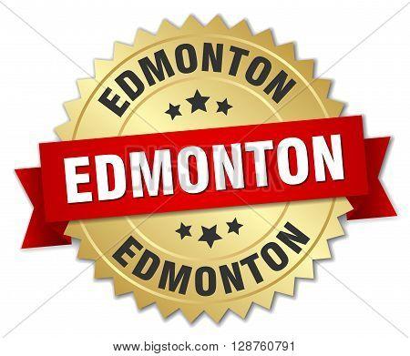 Edmonton round golden badge with red ribbon