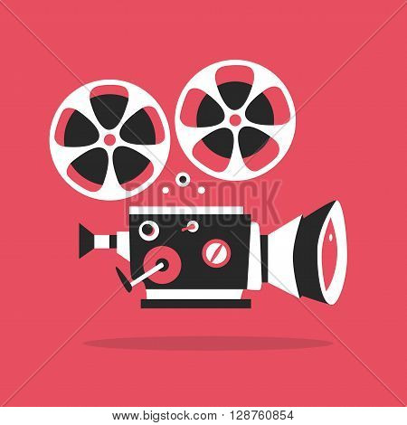 Retro movie projector poster. Cartoon vector illustration. Cinema motion picture. Film projector with film reels