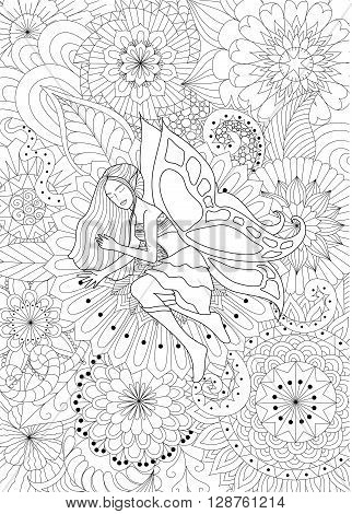 Pretty sleeping on flowers for coloring book for adult