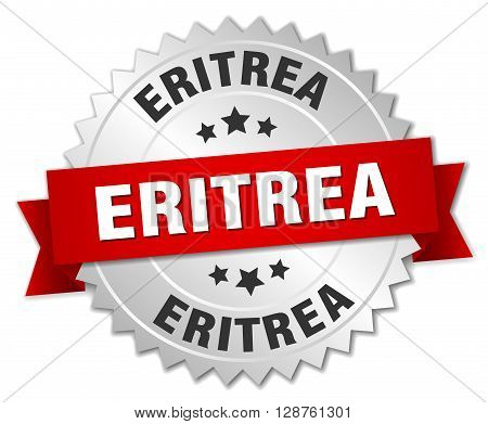 Eritrea round silver badge with red ribbon