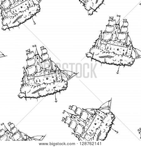 Flying castle ship. Hand drawn vector stock illustration. Seamless background pattern