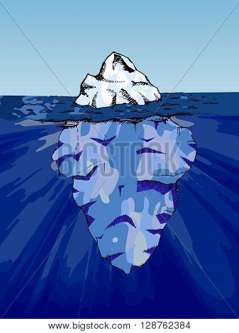 Iceberg under water. Hand drawn stock illustration