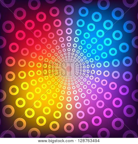 Vector illustration of abstract vector background. Colored circle with neon effect