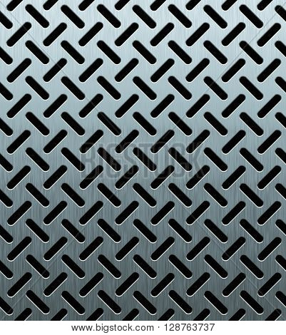 texture of perforated metal sheet, 3d rendering