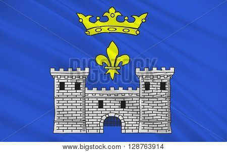 Flag of Angouleme is a French commune the capital of the Charente department in the Poitou-Charentes region of France.