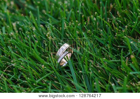 Wedding ring in the green grass on lawn
