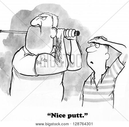 Golfing cartoon about a really, really long putt.