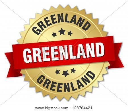 Greenland round golden badge with red ribbon