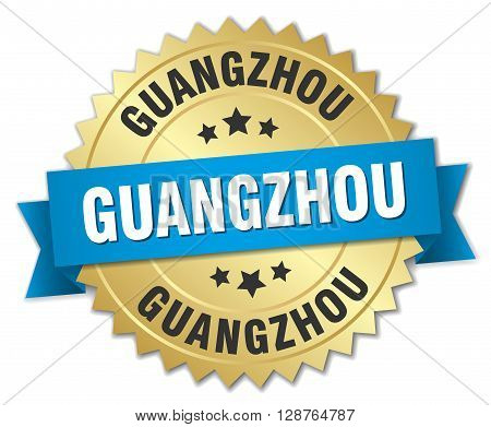 Guangzhou round golden badge with blue ribbon
