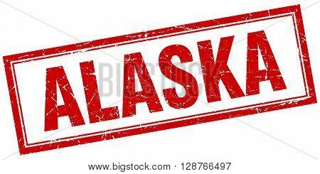 Alaska Red Square Grunge Stamp On White