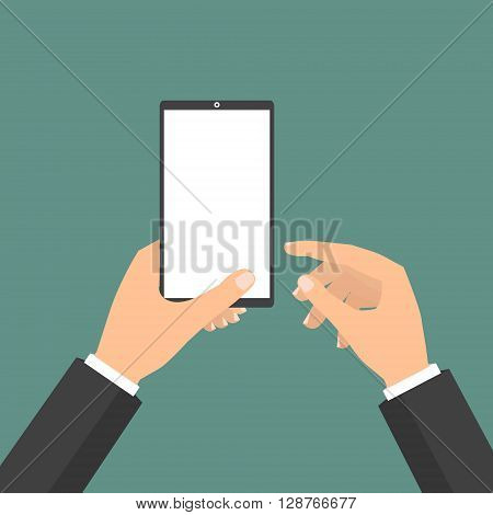 Businessman holding tablet smart phone and point to display. Vector illustration clound Internet of Things concept.