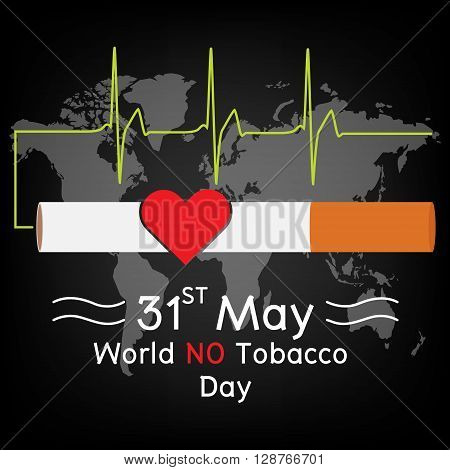 Red heart in cigarette with heartbeat signal on world map background. Vector illustration flat design World No Tobacco Day concept.
