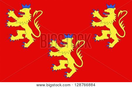 Flag of Dordogne is a department in southwestern France with its prefecture in Perigueux