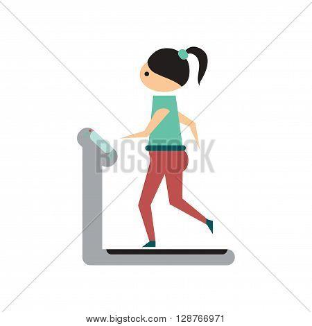 Flat web icon on white  background  girl treadmill